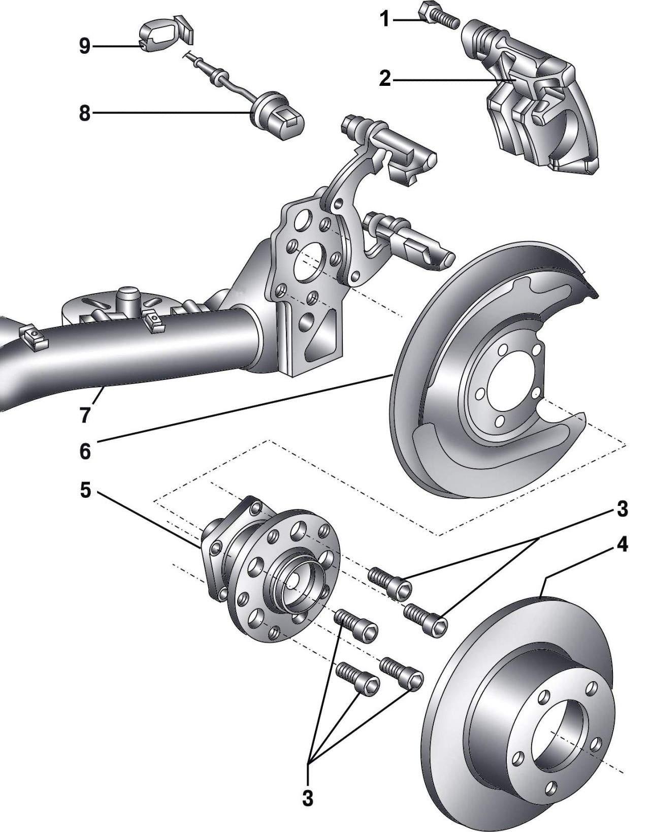 схема ступицы заднего колеса на ауди 80