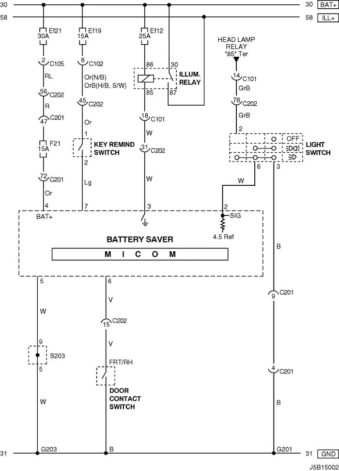 Electrical    Wiring       Diagram    2005    Nubira   Lacetti 33 BATTERY SAVER CIRCUIT