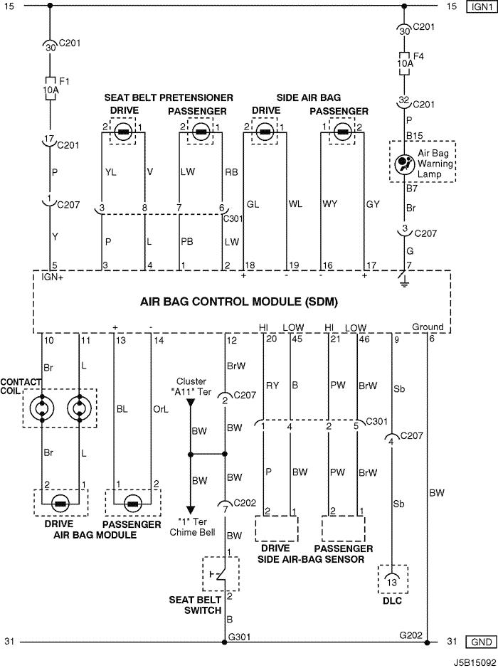 Electrical Wiring Diagram 2005 Nubira-Lacetti 28. AIR BAG (SDM: SENSING &  DIAGNOSTIC MODULE) CIRCUIT   Chevrolet Lacetti 2005 Wiring Diagram      pkfnpo.ru