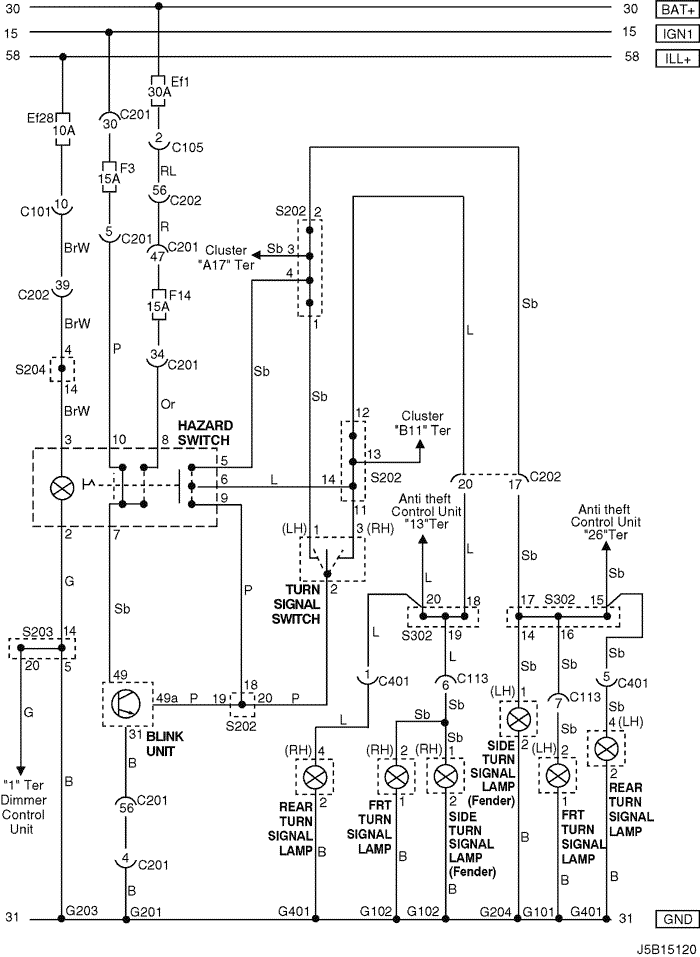 j5b15120 electrical wiring diagram 2005 nubira lacetti 13 hazard & turn daewoo lacetti wiring diagram at crackthecode.co