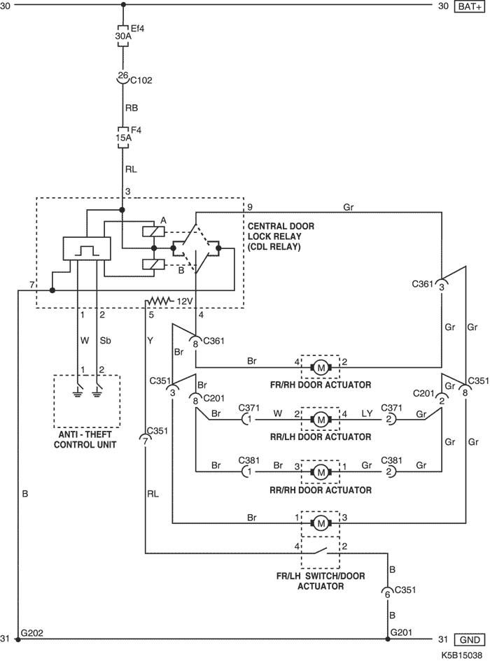 Схема центрального замка на матизе