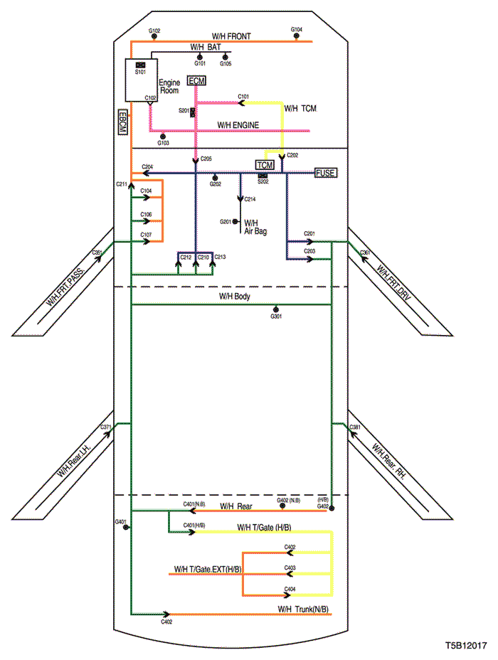 electrical wiring diagram 2005 kalos position of connectors and grounds rh pkfnpo ru Chevy Wiring Schematics daewoo kalos abs wiring diagram