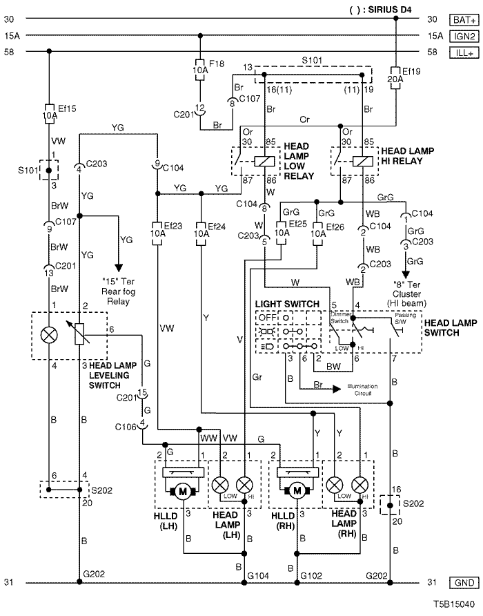 Electrical Wiring Diagram 2005 Kalos 8  Head Lamp  U0026 Head Lamp Leveling Device  Hlld  Circuit