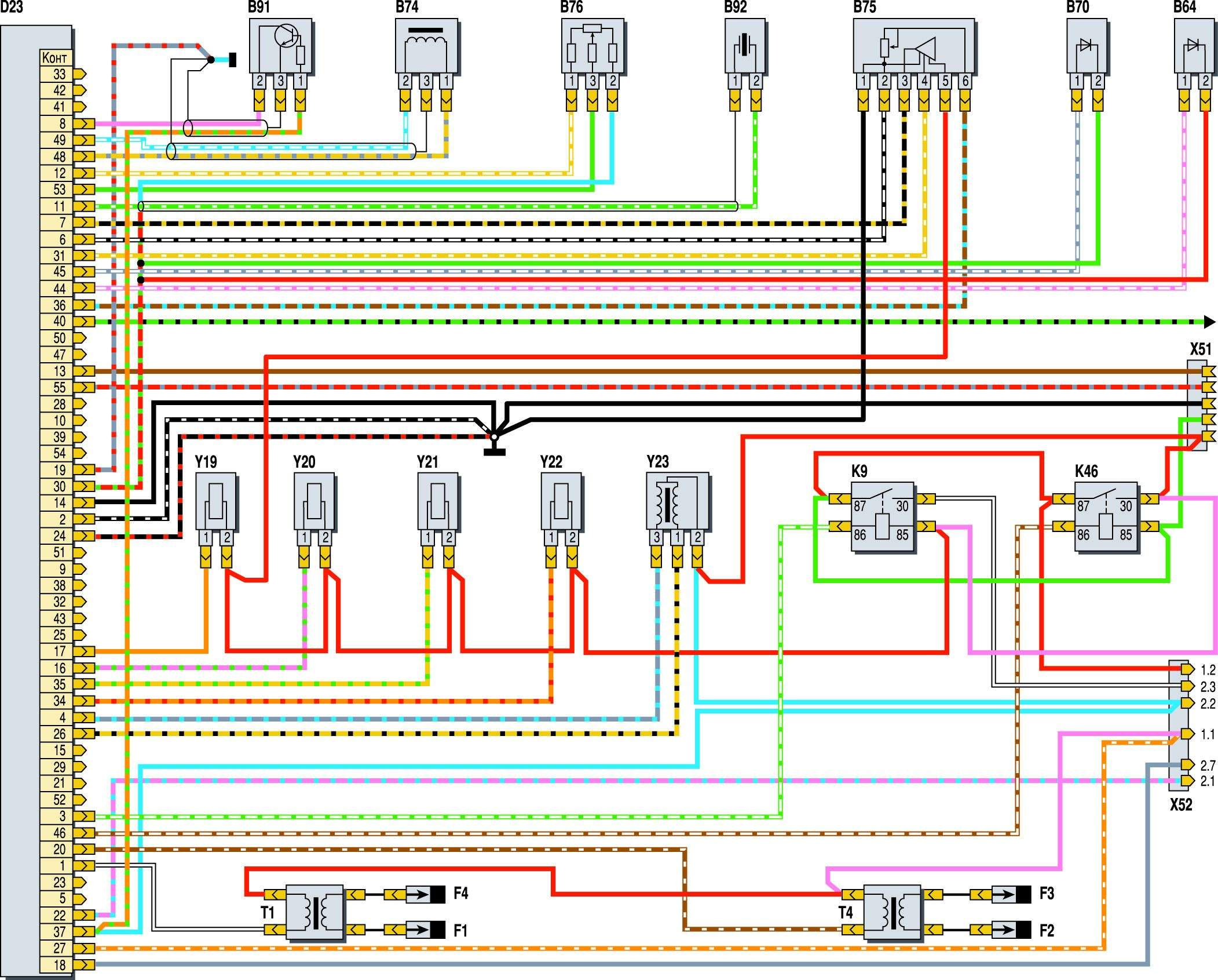 Схема системы управления двигателем 40522 с микас-11