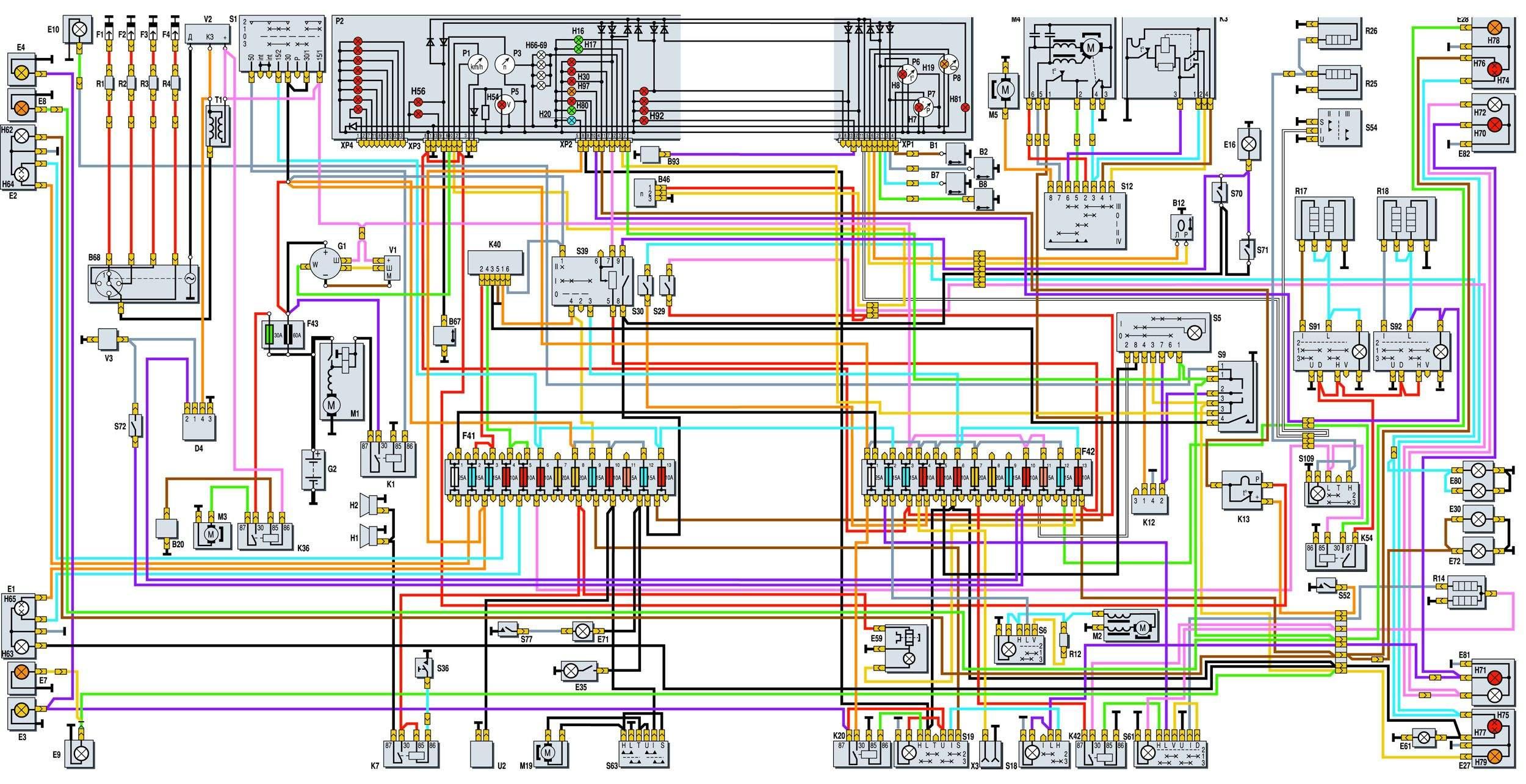 Газ 3110 1999 года схема электрическая