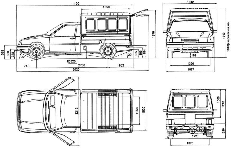 размеры автомобиля Иж-2717
