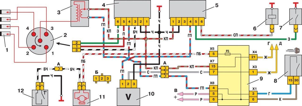 Схема электрозамка 2115